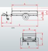 Anssems Anssems GT 750 R bakwagen - 750 kg bruto laadvermogen - 251x126 cm laadoppervlak - ongeremd - inclusief reling en voorrek