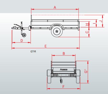 Anssems GT 500 R bakwagen - 500 kg bruto laadvermogen - 181x101 cm laadoppervlak - ongeremd - inclusief reling en voorrek - 1.10.1.0102.01 technische tekening