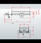 Anssems Anssems GT 500 R bakwagen - 500 kg bruto laadvermogen - 151x101 cm laadoppervlak - ongeremd - inclusief reling en voorrek
