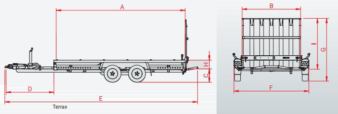 Hulco TERRAX-3 3500 - 3500 kg bruto laadvermogen - machinetransporter - 394x180 cm laadoppervlak - geremd - 1.45.1.3502.00 technische tekening