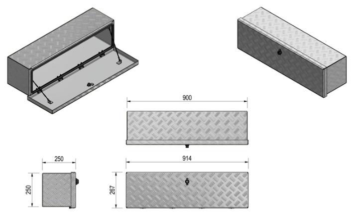 DE HAAN BOX OM - 900x250x250 mm - waterdichte en stofdichte aluminium traanplaat disselkist  - voorzien van vlinderslot of t-sluiting technische tekening
