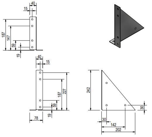 De Haan montagesteunen voor onderbouw kisten - OK/O/OS/OM/OL technische tekening