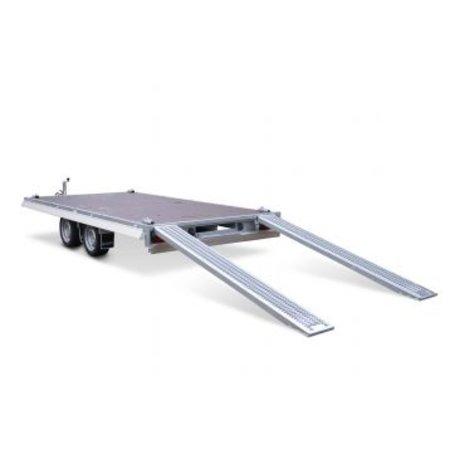 Eduard Geremde Eduard multitransporter - 406x200 cm - 3000 kg bruto laadvermogen - 63 cm laadvloerhoogte - 10 cm borden - inclusief oprijplaten en handlier