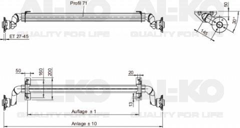 Ongeremde torsie as - padmaat 1150 mm - flensmaat 1580 mm - 750 kg - 4x100 technische tekening