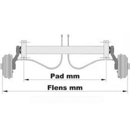 Knott Ongeremde torsie as - padmaat 1300 mm - flensmaat 1670 mm - 750 kg - 4x100