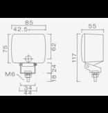 Aspock Mistlamp - Aspock Fogpoint op verstelbare houder - 117(85)x75x55 mm