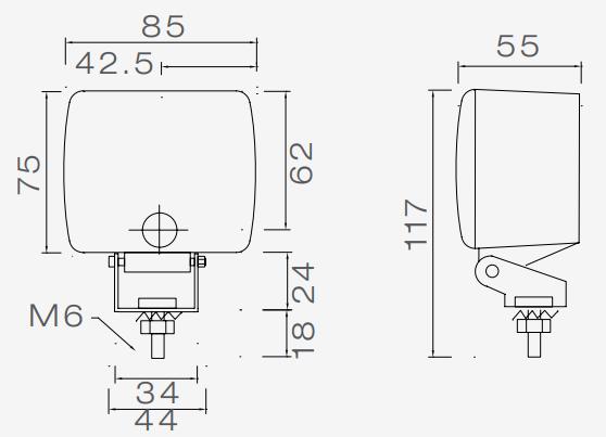 Aspock Mistlamp - Aspock Fogpoint - 117(85)x75x55 mmmistlamp 55x85x117 mm technische tekening