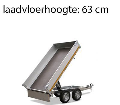 Eduard Ongeremde Eduard achterwaartse kipper - 256x150 cm - 750 kg bruto laadvermogen - elektrisch met afstandsbediening - 63 cm laadvloerhoogte