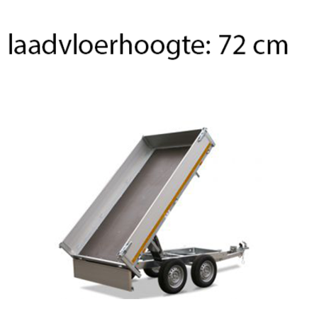 Eduard Ongeremde Eduard achterwaartse kipper - 256x150 cm - 750 kg bruto laadvermogen - elektrisch met afstandsbediening - 72 cm laadvloerhoogte