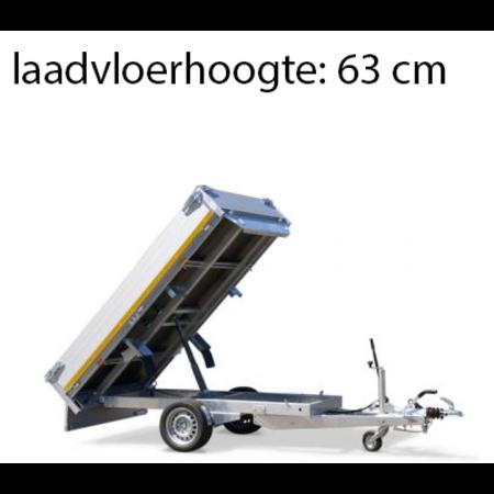 Eduard Geremde Eduard achterwaartse kipper - 256x150 cm - 1350 kg bruto laadvermogen - elektrisch, extern laden met afstandsbediening en een handpomp - 63 cm laadvloerhoogte
