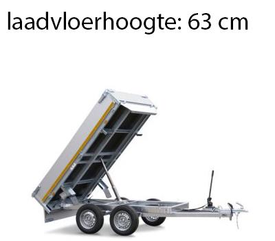 Eduard Geremde Eduard achterwaartse kipper - 256x150 cm - 2000 kg bruto laadvermogen - elektrisch, extern laden en handpomp - 63 cm laadvloerhoogte