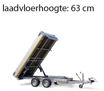 Eduard Achterwaartse kipper 310x160 cm - 2000 kg - handpomp en elektrisch met afstandsbediening - voorzien van 40 cm borden en oprijplaten