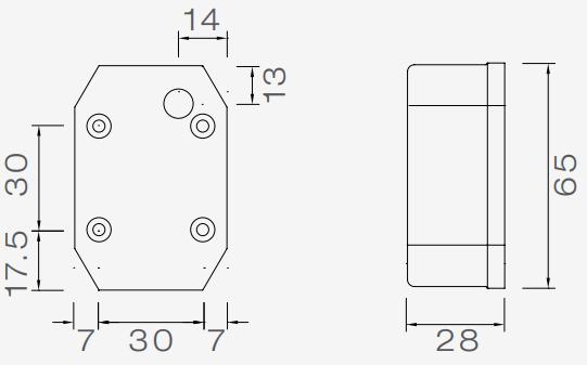 Aspock flexipoint LED breedtelicht wit met 50 cm dc kabel plat. technische tekening - 31-6509-027