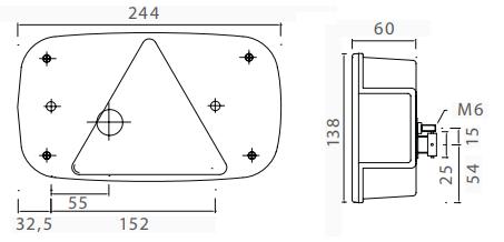 Aspock Multipoint 3 verlichtingsset - 5 meter hoofdkabel - 13 polig - inclusief voorgemonteerde markeringsverlichting (wit) technische tekening