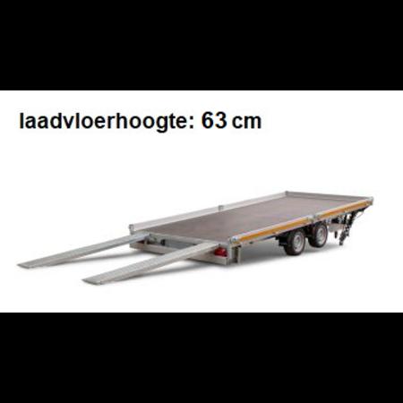 Eduard Geremde Eduard autotransporter - 506x220 cm - 3500 kg bruto laadvermogen - 63 cm laadvloerhoogte - kantelbaar met oprijplaten - 30 cm borden