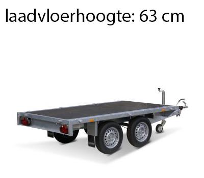 Eduard Geremde Eduard plateauwagen - 256x150 cm - 2700 kg bruto laadvermogen - 63 cm laadvloerhoogte - vlak - tandemasser