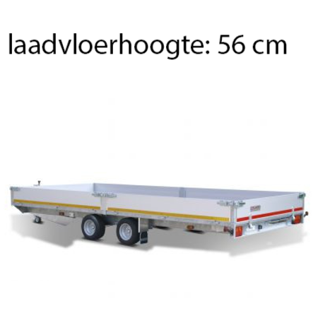 Eduard Geremde Eduard multitransporter - 506x200 cm - 3000 kg bruto laadvermogen - 56 cm laadvloerhoogte - 30 cm borden - inclusief oprijplaten