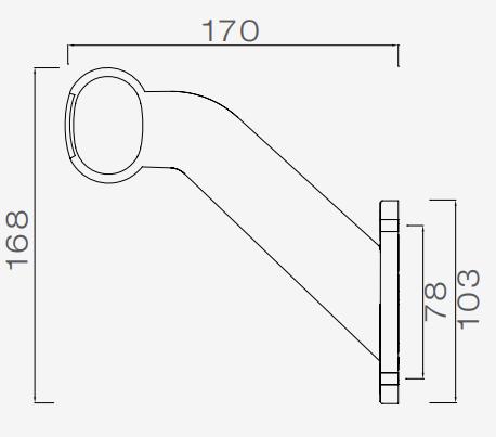 Aspock Superpoint 2 - links - wit/oranje/rood - 1 meter platte kabel technische tekening