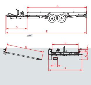 Anssems AMT 1200 - 1200 kg bruto laadvermogen - 340x170 cm laadoppervlak - geremd - 1.20.1.0501.00 technische tekening
