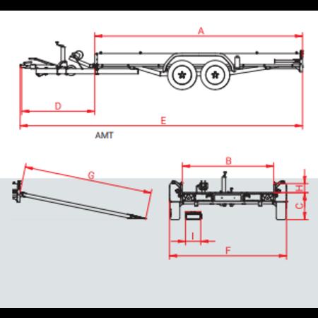 Anssems Anssems AMT 2500 - 2500 kg bruto laadvermogen - 440x190 cm laadoppervlak - geremd