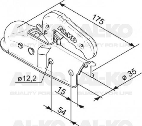 Geremde AL-KO AK7-A koppeling - 750 kg - geremd - 35 mm rond technische tekening