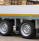 Eduard Geremde Eduard multitransporter - 330x180 cm - 2700 kg bruto laadvermogen - 63 cm laadvloerhoogte - 30 cm borden - inclusief oprijplaten excl. handlier.