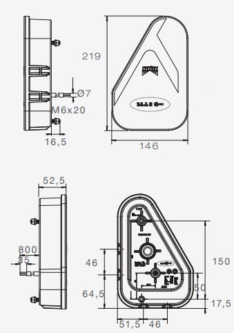 Aspock Earpoint LED links - inclusief mistlamp - 146x219x52,5 mm 35-0301-017 technische tekening