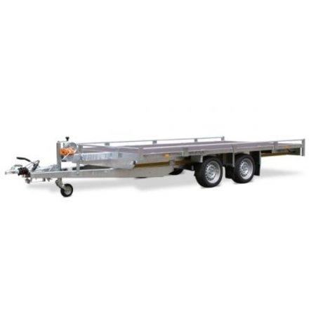Eduard Geremde Eduard autotransporter - 406x200 cm - 2000 kg bruto laadvermogen - 63 cm laadvloerhoogte - 10 cm reling - inclusief lier en oprijplaten