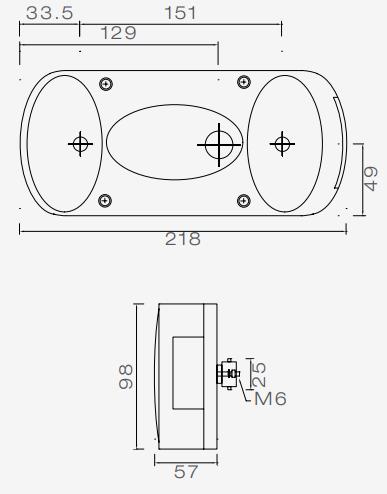 Aspock Midipoint 2 verlichtingsset met 5 meter hoofdkabel en 13-polige stekker aansluiting - inclusief voorgemonteerde markeringsverlichting technische tekening links