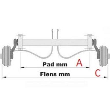 Knott Ongeremde torsie as - padmaat 1000 mm - flensmaat 1450 mm - 750 kg - 4x100