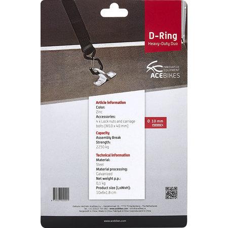 Acebikes Premium D-ringen van Acebikes - verpakt in blister - inclusief bevestigingsmaterialen