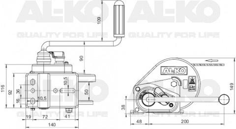 AL-KO 450A BASIC met afrolautomaat technische tekening