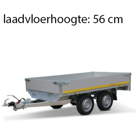 Eduard Geremde Eduard plateauwagen - 256x150 cm - 2000 kg bruto laadvermogen - 56 cm laadvloerhoogte - 30 cm borden