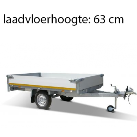 Eduard Geremde Eduard plateauwagen - 310x160 cm - 1350 kg bruto laadvermogen - 63 cm laadvloerhoogte - 30 cm borden - enkelasser
