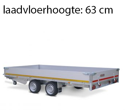 Eduard Geremde Eduard plateauwagen - 406x180 cm - 3500 kg bruto laadvermogen - 63 cm laadvloerhoogte - 30 cm borden