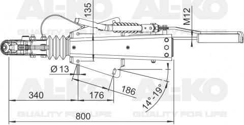 AL-KO oplooprem 2.8VB S in V-Dissel uitvoering technische tekening
