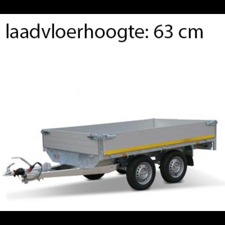 Eduard Ongeremde Eduard plateauwagen - 256x150 cm - 750 kg bruto laadvermogen - 63 cm laadvloerhoogte - 30 cm borden - tandemasser