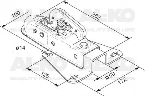 AL-KO V-dissel AK7 Plus/75V - koker 50 mm - 750 kg - ongeremde koppeling technische tekening