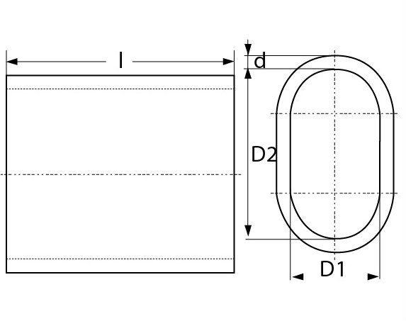 Aluminium klemkous voor 3 mm draad technische tekening