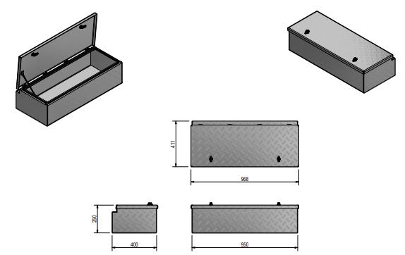 DE HAAN BOX WXV - 968x400x250 mm - waterdichte en stofdichte aluminium traanplaat disselkist  - voorzien van vlinderslot of t-sluiting technische tekening