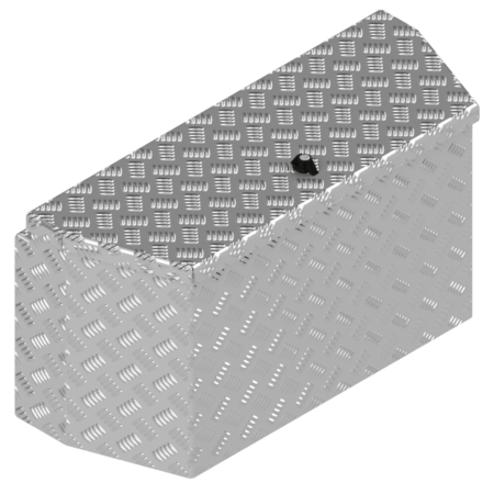 De Haan DE HAAN BOX PBV - waterdichte en stofdichte aluminium traanplaat disselkist 772x330x400 mm - voorzien van vlinderslot