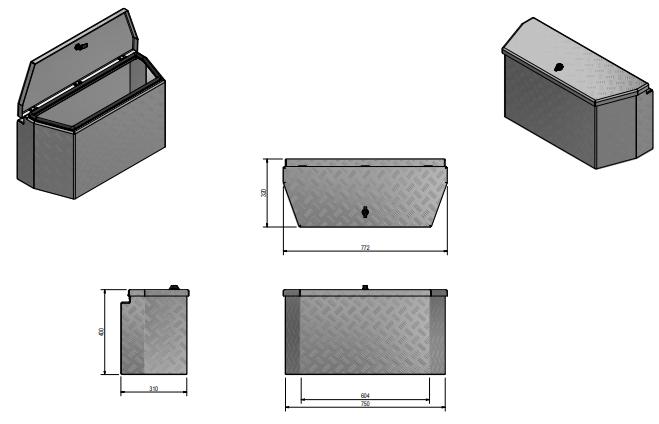 DE HAAN BOX PBV - waterdichte en stofdichte aluminium traanplaat disselkist 772x330x400 mm - voorzien van vlinderslot technische tekening