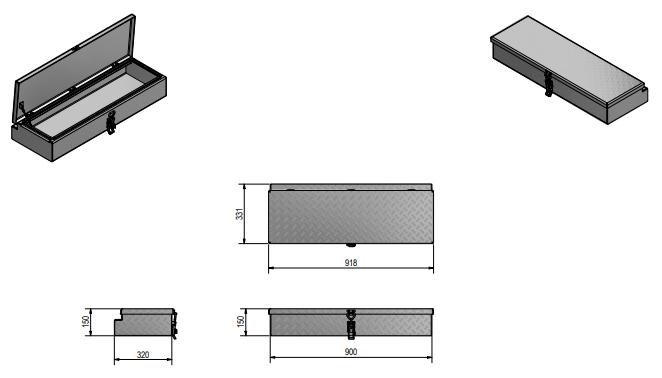De Haan Box HM - 900x320x150 mm - waterdichte en stofdichte aluminium traanplaat disselkist  - voorzien van spansluiting