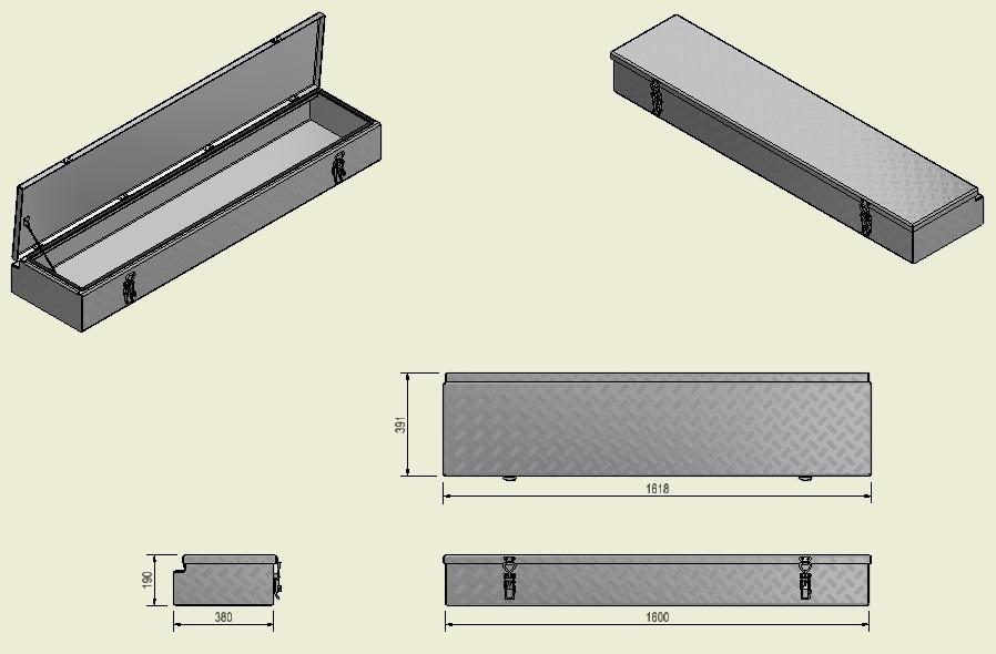 DE HAAN BOX HL - 1618x391x190 mm - waterdichte en stofdichte aluminium traanplaat disselkist - voorzien van vlinderslot of spansluiting