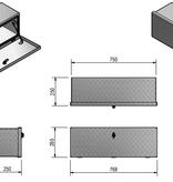 De Haan DE HAAN BOX OS - 764x267x250 mm - waterdichte en stofdichte aluminium traanplaat disselkist  - voorzien van vlinderslot of t-sluiting