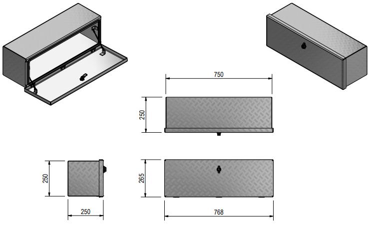 DE HAAN BOX OS - 764x267x250 mm - waterdichte en stofdichte aluminium traanplaat disselkist  - voorzien van vlinderslot of t-sluiting