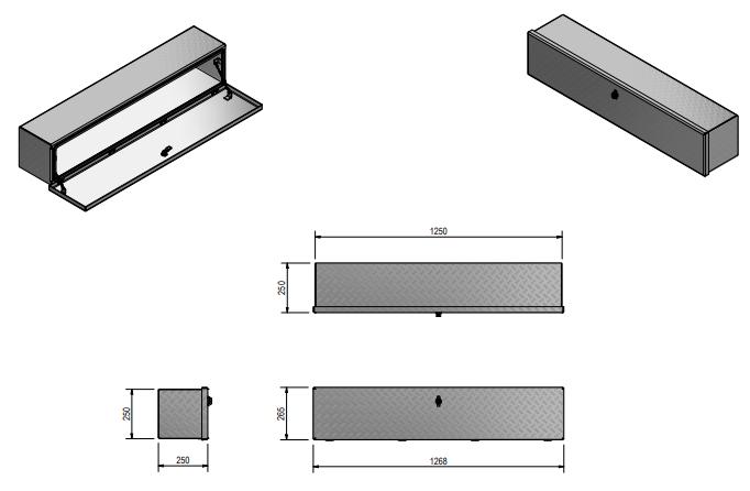 DE HAAN BOX OL - 1264x267x250 mm - waterdichte en stofdichte aluminium traanplaat disselkist  - voorzien van vlinderslot of t-sluiting technische tekening