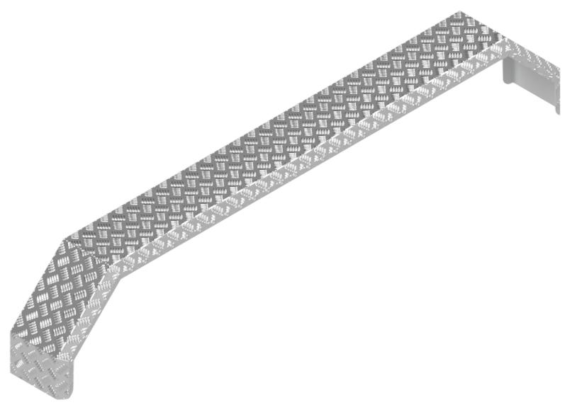 De Haan Aluminium traanplaat spatbord voor tridem asser - 2250x240x400 mm