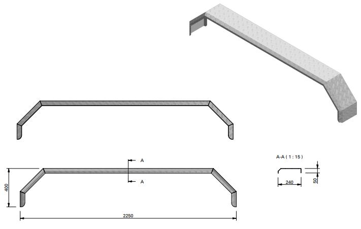 Aluminium traanplaat spatbord voor 3 assige aanhangers - 2250x240x400 mm technische tekening