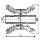 98x70 mm kielrol oranje/geel 14 mm naafdiameter - PU materiaal
